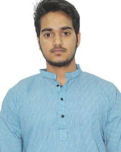 Indian Check print Man/'s Kurta Shirt 100/% Cotton Plus Size loose fit Blue color