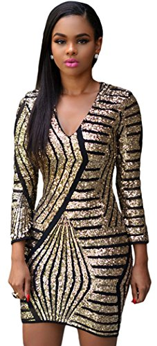 Satin Glam Formal Gown (TomYork Long Sleeve Gold Sequin)