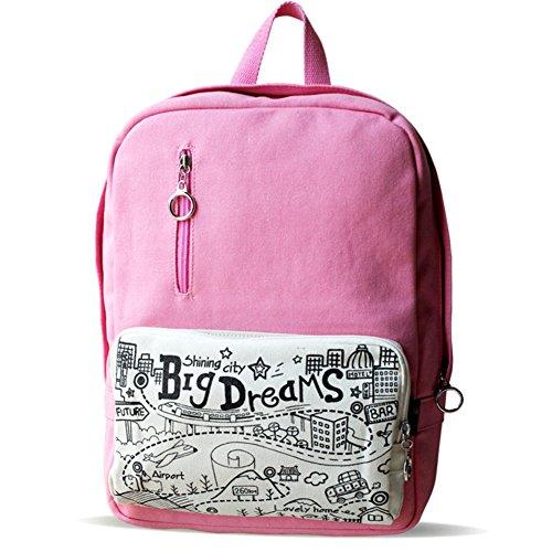 Graffiti simpatico zaino rosa/La signora borsa di tela college