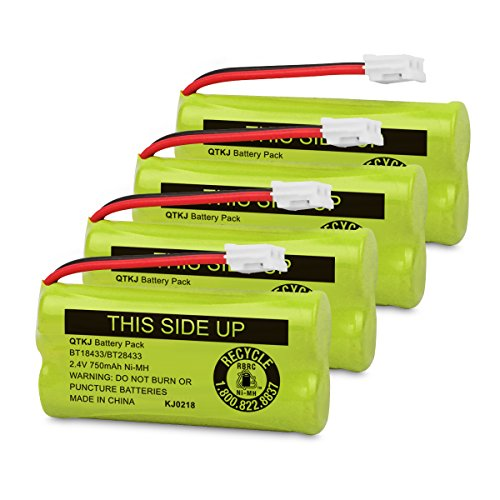 QTKJ BT18433 BT28433 BT184342 BT284342 BT-1011 Cordless Phone Battery for AT&T Vtech CL81100 CS6209 TL90078 BT-8300 BATT-6010 Uniden CS6219 CS6229 DS6301 DS6151 DS6101 BT-1018 BT-1022 (4-Pack) Vtech Ls6204 Accessory Handset