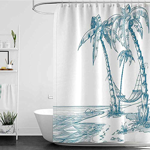 Tim1Beve Fabric Shower Curtain,Tropical Modern Illustration of a Tropical Beach with Palm Trees and Hammock Hawaiian Relax,Waterproof Colorful Funny,W48x84L Blue White