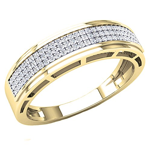 Dazzlingrock Collection 0.25 Carat (Ctw) 10K Round White Diamond Men's Hip Hop Wedding Band 1/4 CT, Yellow Gold, Size 10 (Solid Diamond Gold Ring Yellow)