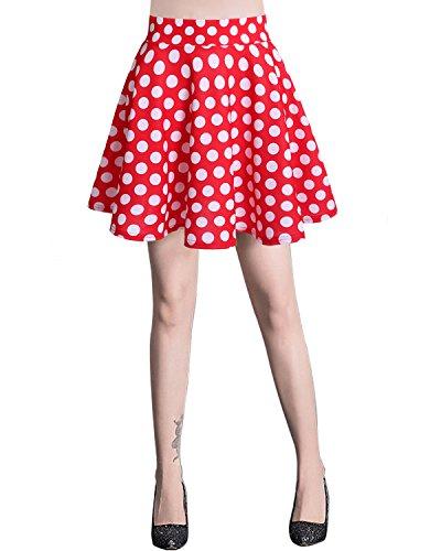 Bridesmay Jupe Patineuse Courte Mini en Polyester Plisse Red White Dot