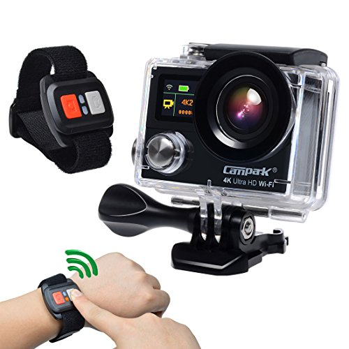 Campark® Sports Action Camera-dual Screen, 4k 25fps, 1080p 60fps,wifi,waterproof RF Remote Control,2pcs Batteries,Bag with Shockproof case included Action Cameras