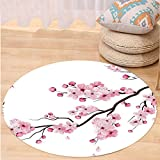VROSELV Custom carpetAsian Decor Illustration Of Japanese Cherry Branches With Blooming Flowers Spring Decorative Art Bedroom Living Room Dorm Decor Pink White Round 79 inches