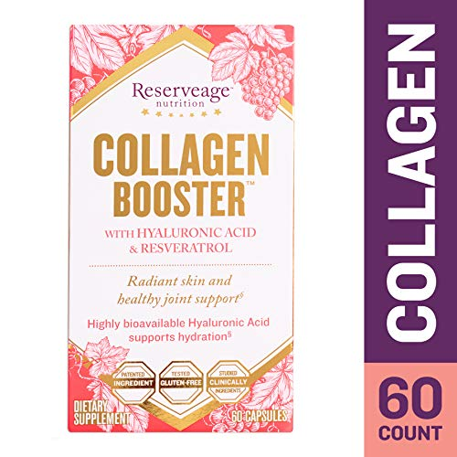 Reserveage - Collagen Booster, Supports Joint Health and Soft, Firm, and Youthful Skin to Help Reduce Wrinkles and Fine Lines with Resveratrol and Hyaluronic Acid, Gluten Free, 60 Capsule