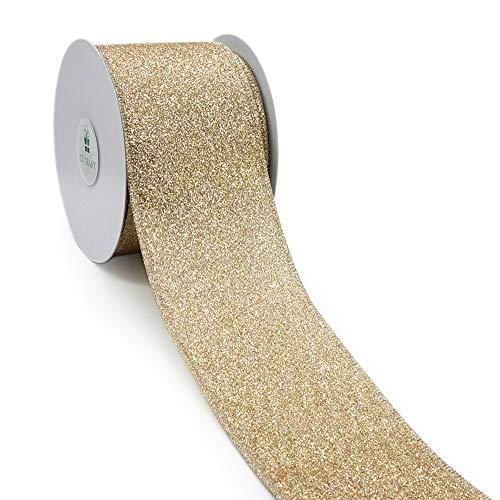 CT CRAFT LLC Satin with Glitter Light Gold Wired Ribbon - 2.5 Inch x 10 Yards x 1 Roll ()