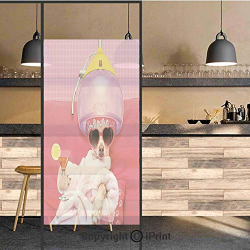 - 3D Decorative Privacy Window Films,Chihuahua Dog Relaxing and Lying in Wellness Spa Fashion Puppy Comic Print Decorative,No-Glue Self Static Cling Glass film for Home Bedroom Bathroom Kitchen Office 2