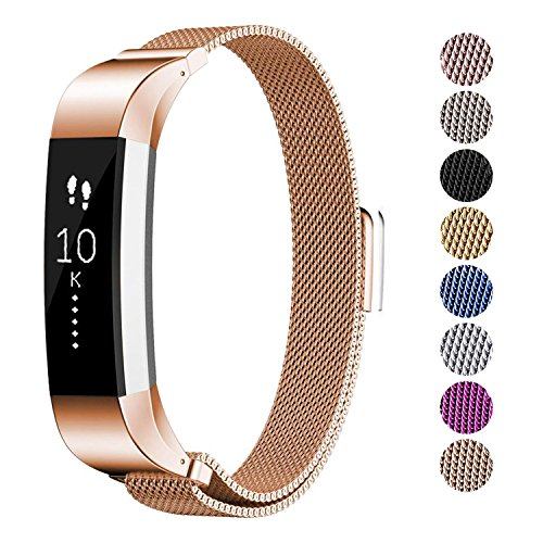 AmzAokay Replacement Accessories Bands for Fitbit Alta/Alta HR and Fitbit Ace,Milanese Loop Adjustable Stainless Steel Wristbands with Magnetic Fitbit ace Bands for Fitbit Fitness Ace Activty Tracker