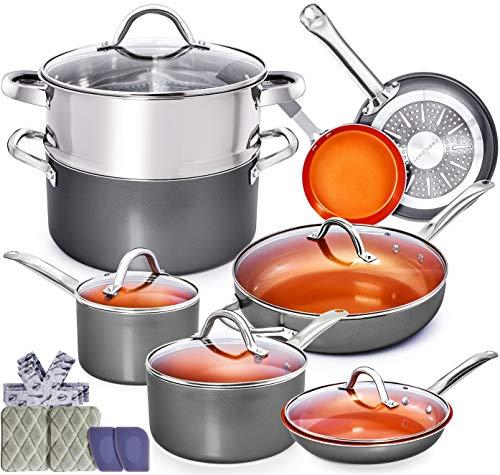 Copper Pots and Pans Set – 13pc Red Copper Cookware Set Copper Pan Set Ceramic Cookware Set Ceramic Pots and Pans Set Induction Cookware Sets Pot and Pan Set Pots and Pans Set Nonstick Cookware Set