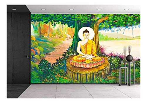 wall26 - Traditional Thai Style Painting Art on Temple Wall,Thailand.Generality in Thailand - Removable Wall Mural | Self-Adhesive Large Wallpaper - 100x144 inches