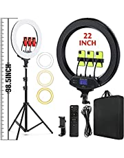 """22"""" LED Ring Light, with 75"""" Tripod/LCD Display/Wireless Remote, Adjustable 2500K-8500K Color Temperature, for YouTube Facebook Live TikTok Video Recording Vlog (Including Carrying Bag)"""