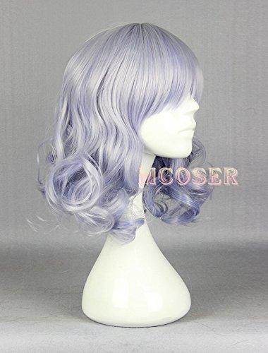 Muse Du Costume (MOOI 16'' Amagi Brilliant Park Muse Cosplay Party Costume Wig Hairpiece Deep Wave Light Blue Purple Hair)