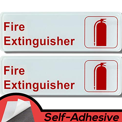Easy Install 9 in x 3 in Fire Extinguisher Sign With Self-Adhesive Backing. 2 Pack of Durable Placards With Bright, Easily Visible Red And White Lettering To Help Keep People Safe. No Tools Necessary. from Retail Genius
