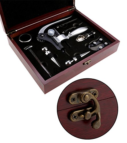 Luxury Celebrate Gift Set Drinking Wine Bar Decoration Kitchen Drinkware Accessories Bottle Hand Tools W/Classic Wood Box LXU3 by MOJIWING (Image #3)