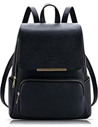 Black Faux Leather Backpack for Girls Schoolbag Casual Daypack