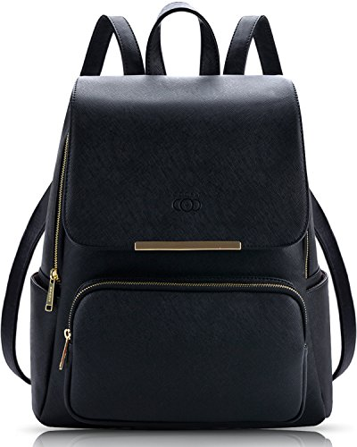 COOFIT Black Leather Backpack Schoolbag Casual Daypack Backpack for Women