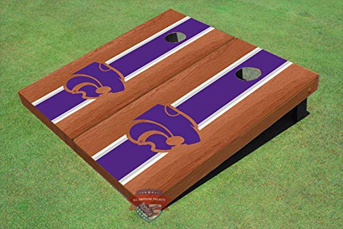 (Skip's Garage Kansas State Wildcats Rosewood Striped 2x4 Cornhole Boards (24