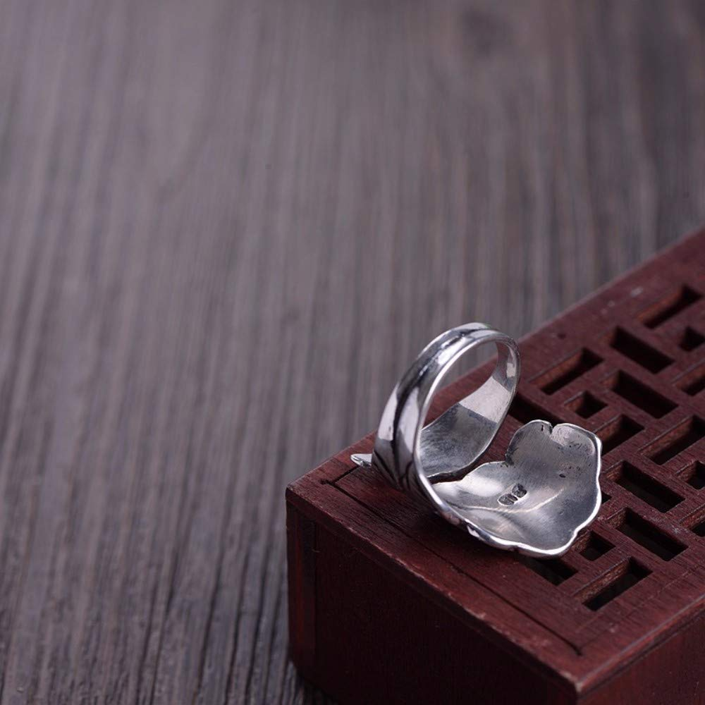THTHT Vintage S925 Silver Ring Womens Opening Fashion Peony Fashion Creative Gift Personality