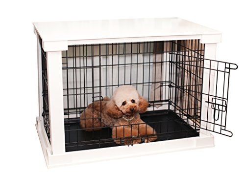 zoovilla White Dog Cage with Crate Cover, Dog Kennel (Wooden Crate Finished)