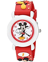 Boy's 'Mickey Mouse' Quartz Plastic Casual Watch, Color:Red (Model: WDS000394)