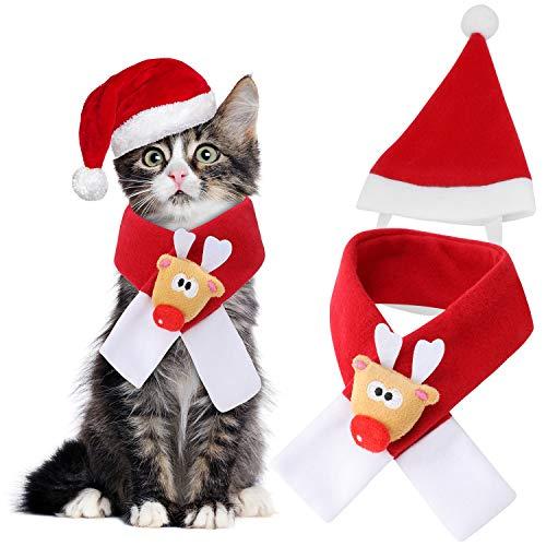 Qkurt Pet Xmas Costumes Apparel, Christmas Santa Hat Scarf for Cats/Dogs Cosplay Dress up, Pets Christmas Thanksgiving…