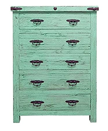 Painted Reclaimed Wood Chest of Drawers  Western  Rustic  Tall Dresser. Amazon com  Painted Reclaimed Wood Chest of Drawers  Western