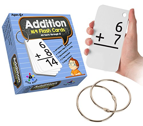Star Right Education Addition Flash Cards, 0-12 (All Facts, 169 Cards) With 2 Rings (First Grade Addition Flash Cards)