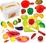 FUNERICA Set of High Quality Pretend Food Playset for Kids - Includes Play Food - Cuttable Play Fruits and Vegetables - Poultry - Mini Pots and Pans - Cutting Board, Knife and More