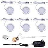 AIBOO Wireless LED Under Cabinet Lighting Dimmer with RF Remote Control, 6 LED Puck Lights, Total of 12W, for Kitchen Closet Wardrobe (Cold White)