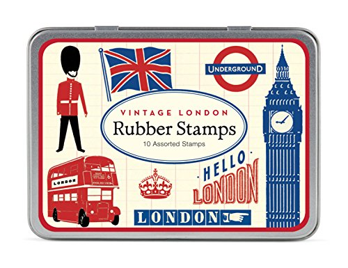 Cavallini Papers Co. 10 Vintage London Assorted Wooden Rubber Stamps Packaged in a Tin