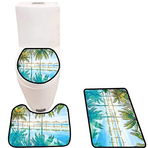 Bathroom Non-Slip Rug Set by The Beach Bright Seas al Eden Hot Sunny Humid Coastal Bay Green in Bath Mat Bathroom Rugs