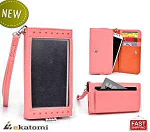 [Expose] Motorola RAZR D3 Phone Case. Universal Women's Wallet Wrist-let Clutch Purse with Thick, Frosted Screen Protector - PINK / CORAL