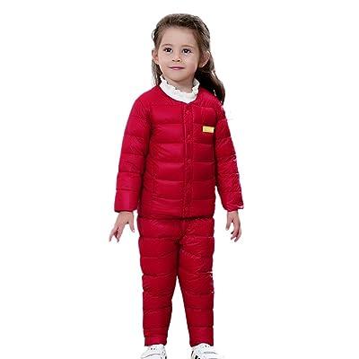627d5abbeaa Happy Cherry Enfant Bébé Ensemble 2pcs Doudoune Manche Longue Manteau  Bouton + Pantalon Matelassé en Velours Veste Coat Léger Chaud Hiver Outdoor  pour ...