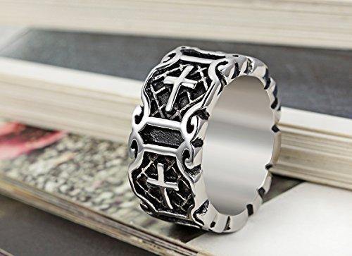 Flongo Men S Classic Stainless Steel Silver Black Celtic Knot