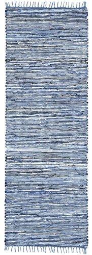 Matador Runner, 2.5-Feet by 8-Feet, Blue Leather and Denim Dhurry (Denim Runner Rug)