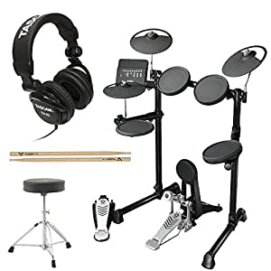 Yamaha DTX450K 10 Customizable Drum Kits Electronic Drum Kit with Yamaha Drum Throne, FIRTH5A Drumsticks and JVC Full Size Headphones