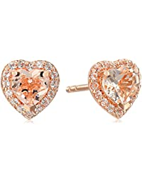 Rose Gold-plated Silver Heart Halo Earrings