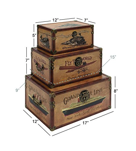 Deco 79 Wood Leather Box, 17 by 15 by 12-Inch, Set of 3