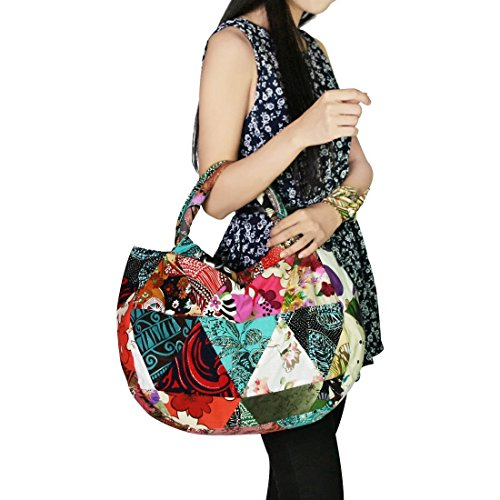 Patchwork Handbag Purse - kilofly Bohemian Top Handle Cloth Shoulder Bag Handbag Tote, Patchwork