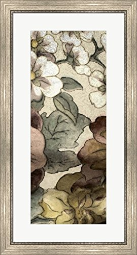 Great Art Now Earthtone Floral Panel III by Catherine Kohnke Framed Art Print Wall Picture, Silver Scoop Frame, 19 x 35 - Floral Panel Earthtone
