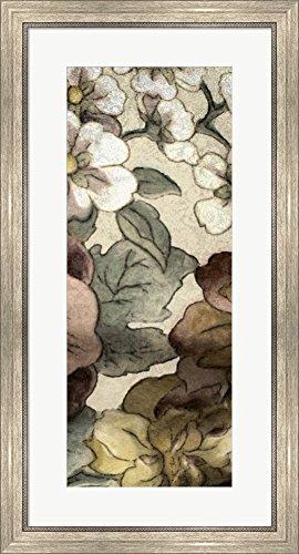 Great Art Now Earthtone Floral Panel III by Catherine Kohnke Framed Art Print Wall Picture, Silver Scoop Frame, 19 x 35 - Panel Earthtone Floral