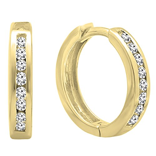 0.25 Carat (ctw) 10K Gold Round Cut White Cubic Zirconia Hoop Earrings 1/4 CT