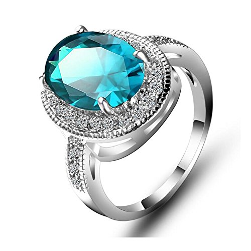 irconia Rings Silver White Gold Solitaire Oval Blue Topaz Cluster CZ Statement Ring ()