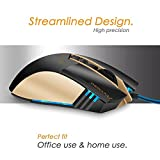 Gaming Mouse, Pecosso Precision Optical Mouse : Esport Computer Mice, 6 Buttons, 3200 Adjustable DPI 4 Levels, LED Mobile Mouse, Usb Wired Mouse, Comfortable Grip for Laptop/PC/Computer/Macbook- Black