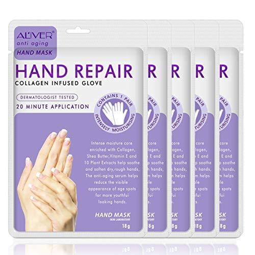 Hand Peel Mask 5 Pack, Moisturizing Gloves, Exfoliating Hand Peeling Mask, Hand Mask, Moisture Enhancing Gloves for Dry Hands, Repair Rough Skin Remove Dead Skin for Women or Men (5 Pack)