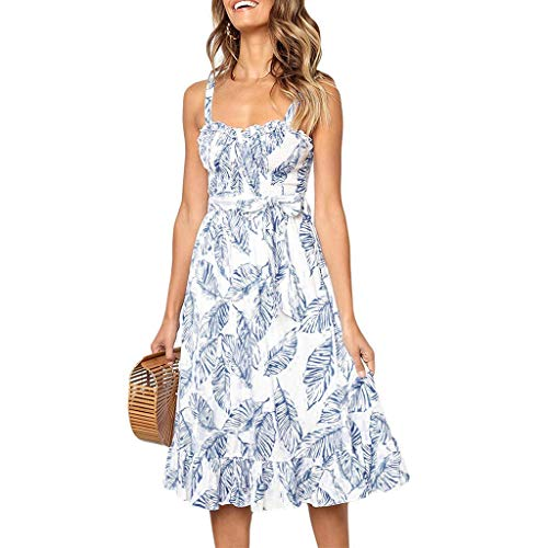 Women's Spaghetti Strap Boho Floral Spaghetti Strap Button Down Belt Sleeveless Swing Dress & ANJUNIE(2-Blue,S) -