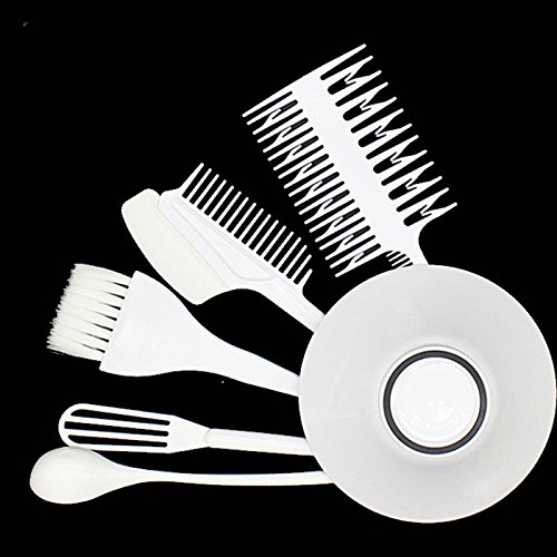 Health & Beauty - Hair Styling Tools - 6pcs Hair Dyeing Kit Hair Color Mixing Bowls Hairdressing Brush Comb Sectioning Kit Salon Hair Color from Isali Health & Beauty