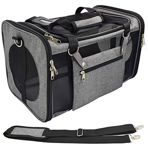 Mr. Peanut's Airline Approved Soft Sided Pet Carrier - Parisian Series Travel Tote with Premium Self Locking Zippers - Faux Fleece Bedding, Luggage Strap, Leash Tether, Zippered Pocket (Gray)