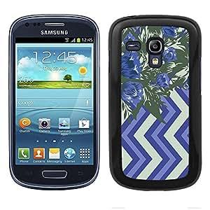 Funda carcasa para Samsung Galaxy S3 Mini diseño ilustración estampado flores azul y verde borde negro